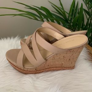 Ivanka Trump HABBIE LEATHER WEDGE SANDALS